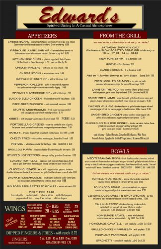 Edwards Restaurant Menu